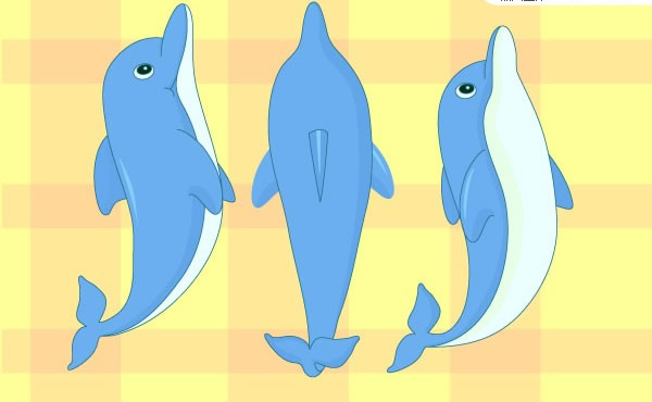 正在跳跃的可爱小海豚矢量素材下载