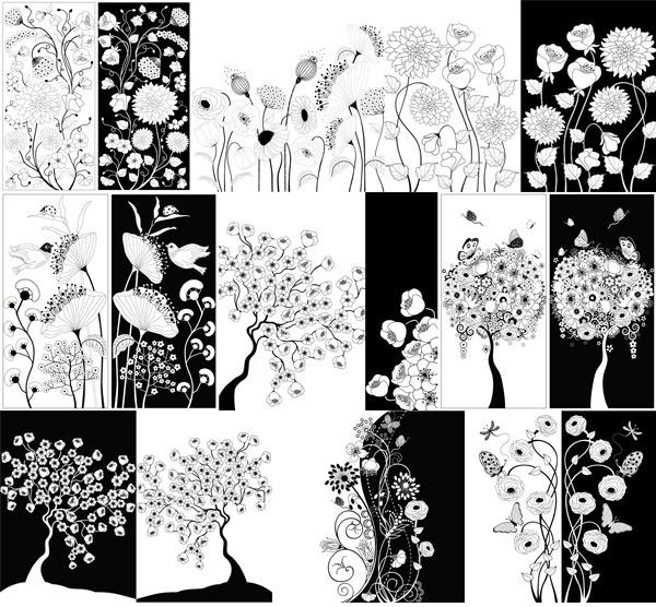 0 点 关键词: 黑白花朵装饰矢量素材,黑白花朵,装饰画,卡通植物,花朵