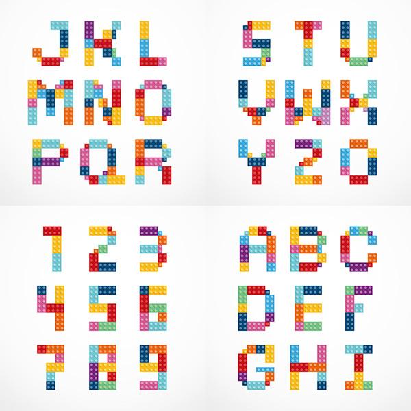 英文字母-彩色英文数字矢量