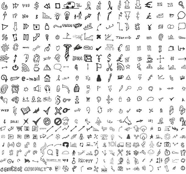 手绘线性图标