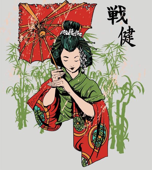 身着和服的日本少女矢量素材下载,矢量人物,女性,女人,日本女人,和服