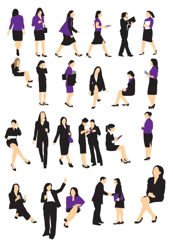 商务女性轮廓矢量素材下载