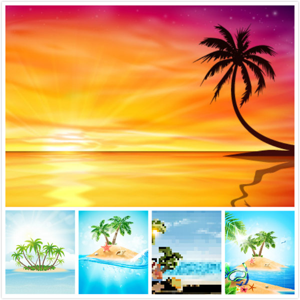 沙滩,矢量图,矢量素材图,海滩,树,椰子树,蓝天,云朵,天空,海岸,帆船