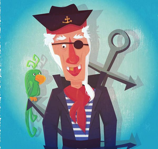 素材分类: 矢量卡通角色所需点数: 0 点 关键词: 卡通独眼船长和鹦鹉