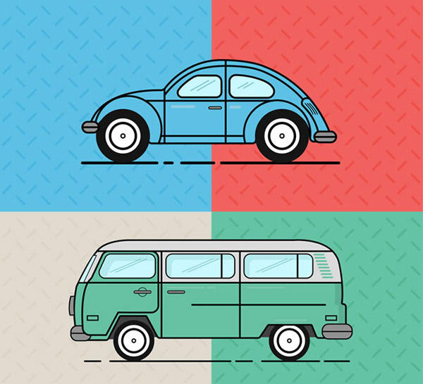 车辆俯视图-卡通复古车辆