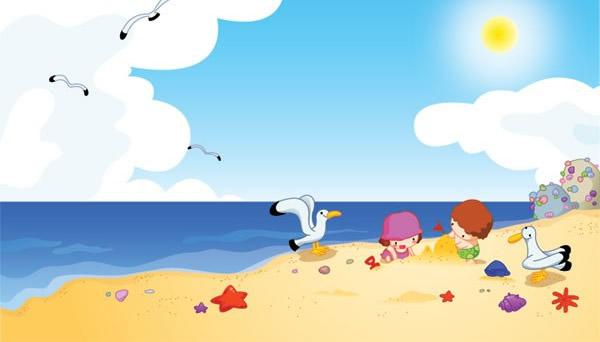 矢量,卡通人物,孩子,玩耍,快乐,海边风光,海滩,海鸥,贝壳,大海,蓝天