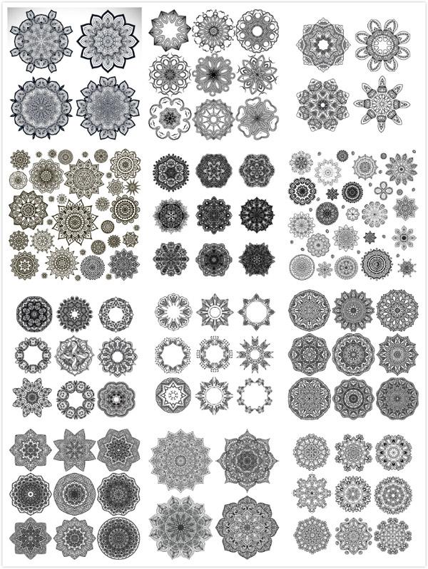 0 点 关键词: 圆形印花花纹矢量素材,对称花纹,黑白花纹,花纹装饰