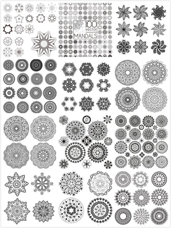 装饰花纹设计矢量素材,对称花纹,黑白花纹,花纹装饰,欧式花纹,圆环边