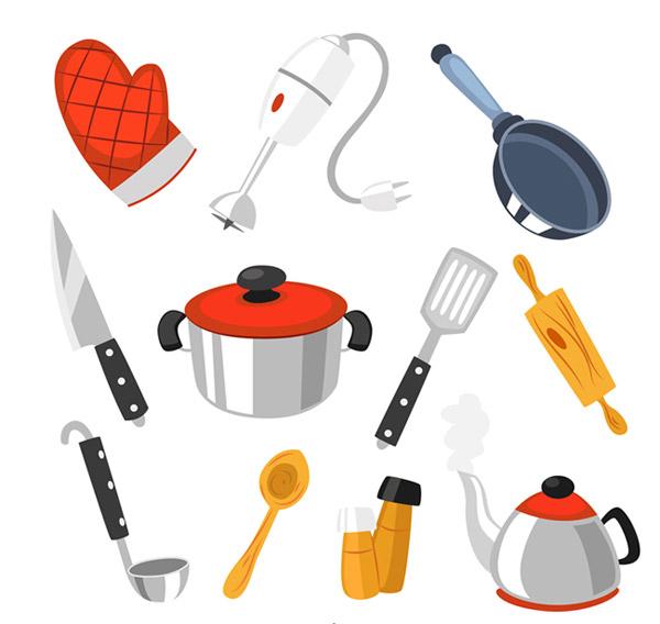 厨具设计矢量素材下载,隔热手套,电动打蛋器,平底锅,炖锅,菜刀,擀面棍