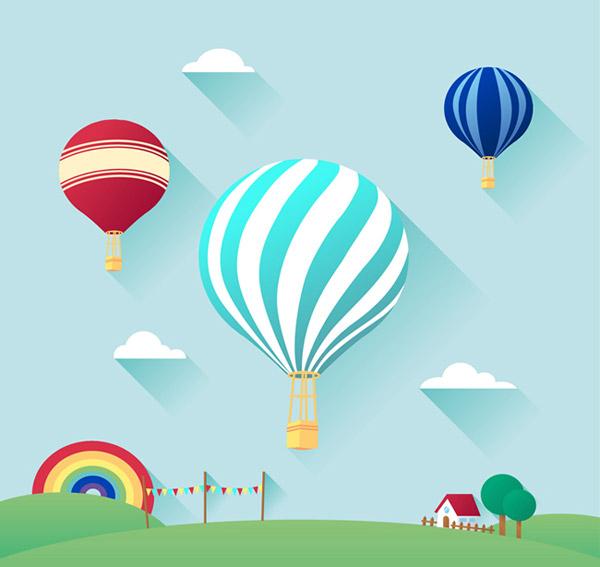 矢量插画所需点数: 0 点 关键词: 精致热气球插画矢量素材下载,云朵