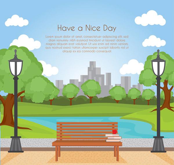 矢量建筑景观所需点数: 0 点 关键词: 城市公园和长椅风景矢量素材