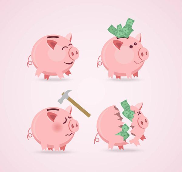 0 点 关键词: 卡通粉色猪存钱罐矢量素材下载,猪,储蓄罐,存钱罐,锤子