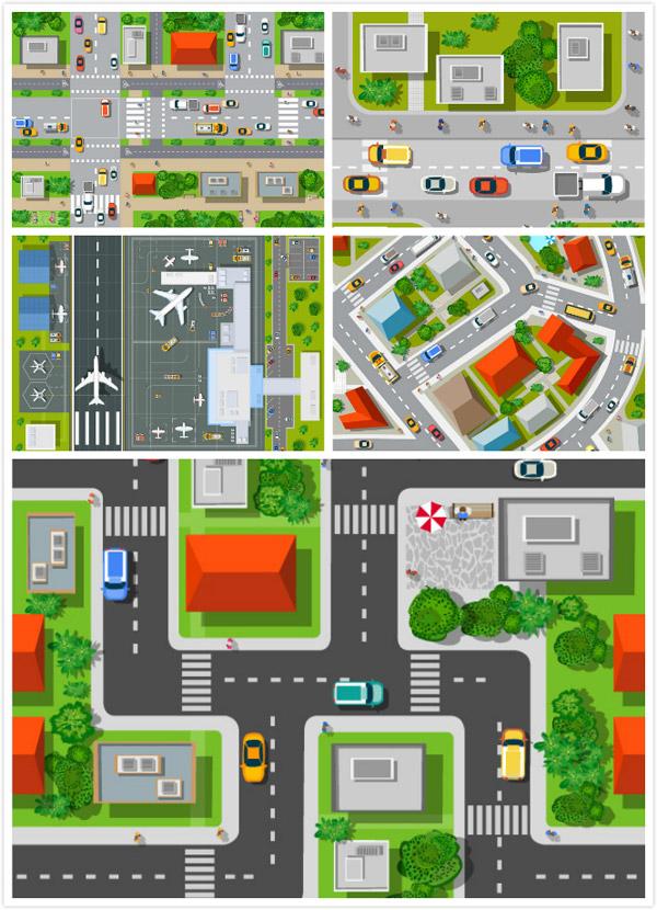卡通城市鸟瞰平面矢量素材