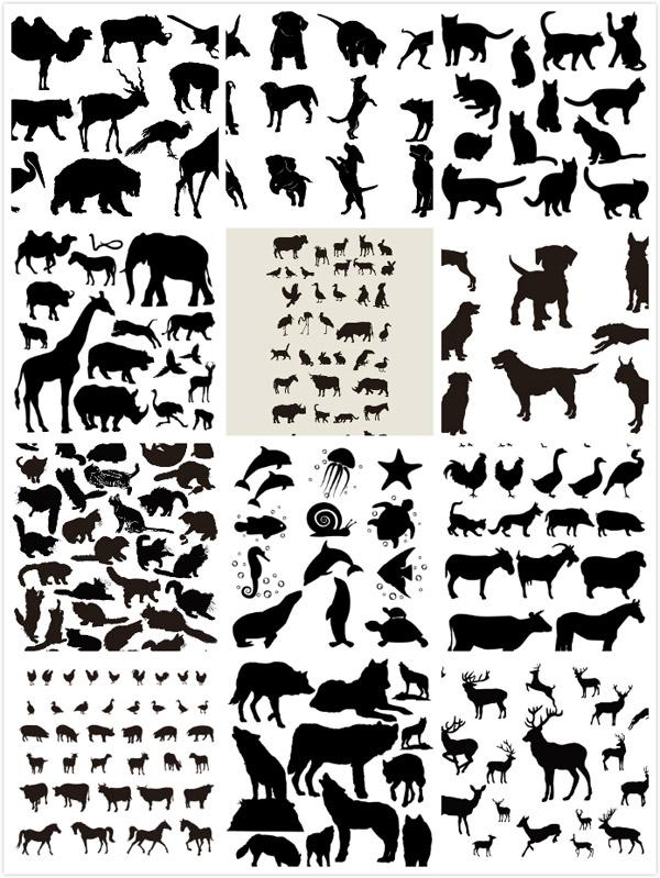 0 点 关键词: 动物剪影设计矢量素材,蛇,骆驼,长颈鹿,狮子,大象,飞鸟