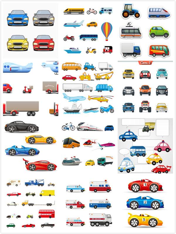 车辆设计矢量素材,货车,飞机,工程车,跑车,轮船,医护车,自行车,客车