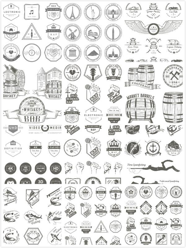 名胜古迹,汽车,英国古堡,黑白复古图标,徽标徽章标帖,标志,图标,矢量