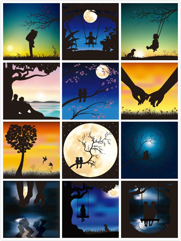 0 点 关键词: 浪漫人物剪影矢量素材,大树,月亮,花草,动物,星空,小猫
