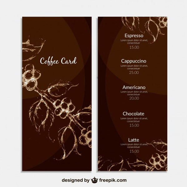 咖啡菜单模板