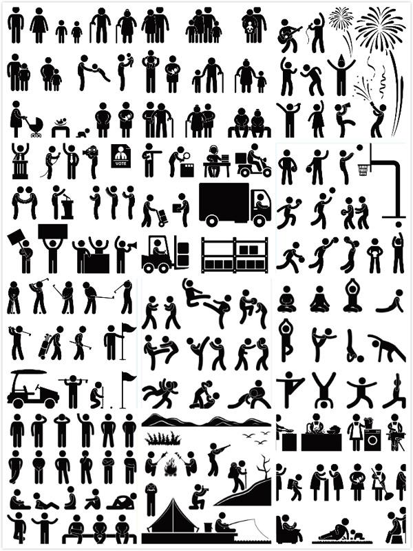 人物剪影动作矢量素材,黑白人物,人物动作,卡通家庭,生活人物,父母