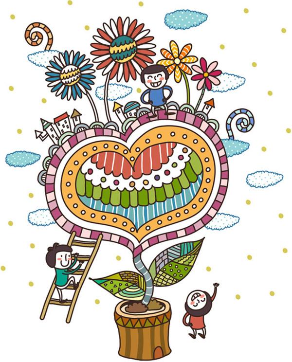 卡通心形植物插画