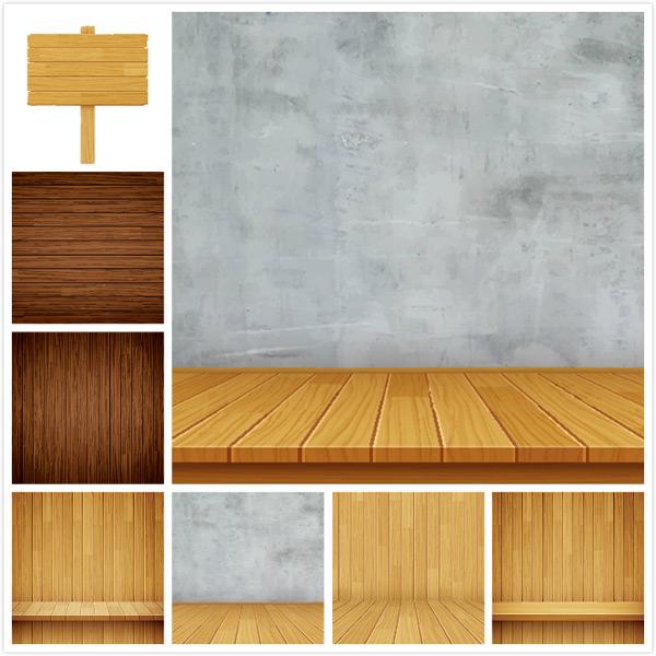 木板展台背景设计矢量素材,导视牌,墙面,产品展示,展台,木地板背景