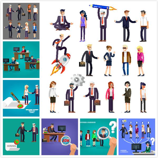 扁平化商务人士设计矢量素材,商务人士,卡通人物,职业人物,信息图表