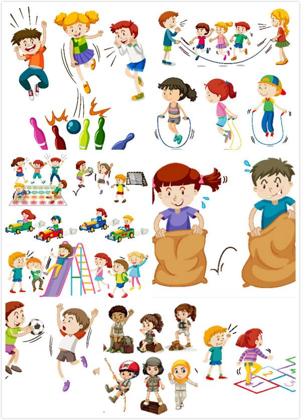 0 点 关键词: 卡通儿童插画矢量素材,卡通人物,运动,比赛,锻炼身体