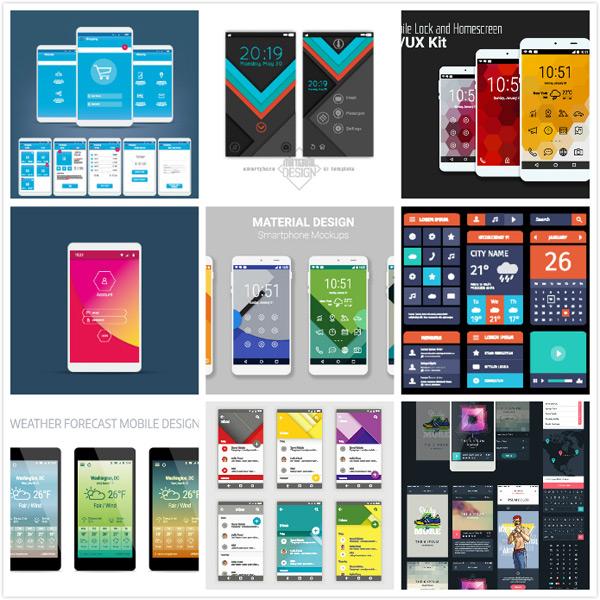 平面廣告所需點數: 0 點 關鍵詞: 手機頁面設計矢量素材,手機app網頁