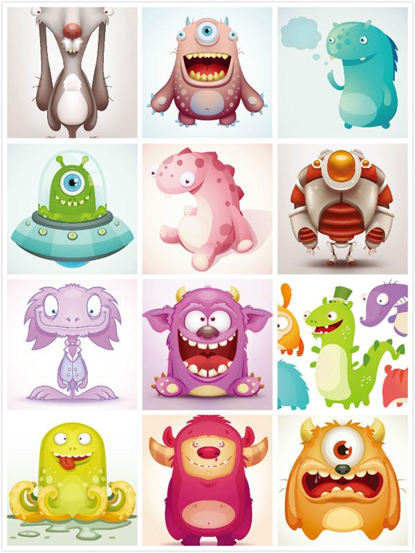 卡通动物怪兽矢量素材