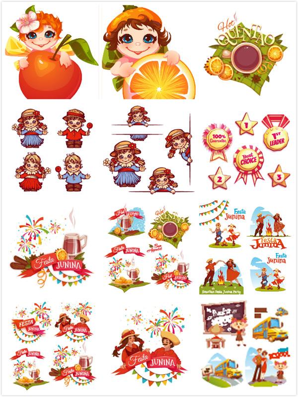 0 点 关键词: 卡通儿童元素矢量素材,名词,桔子,苹果,足球,彩色甜筒