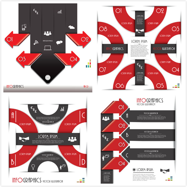 设计素材,创意设计,信息图表,流程图表,潮流,时尚,黑色,红色,箭头
