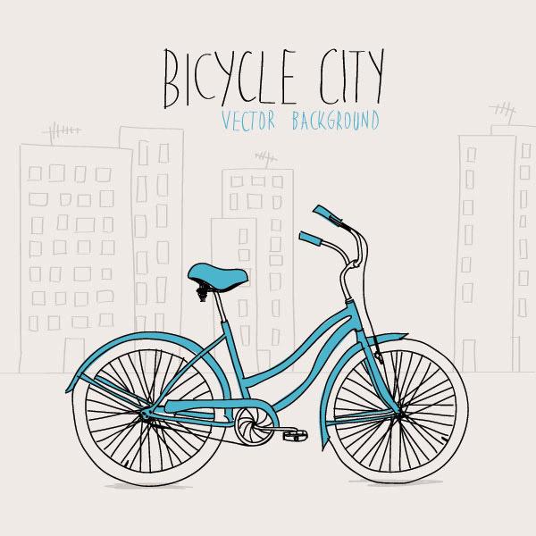 自行车手绘插画