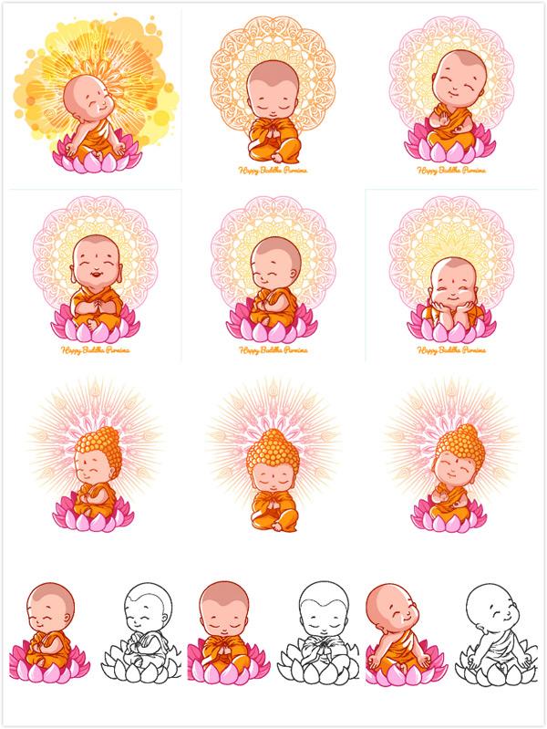 卡通佛教儿童人物