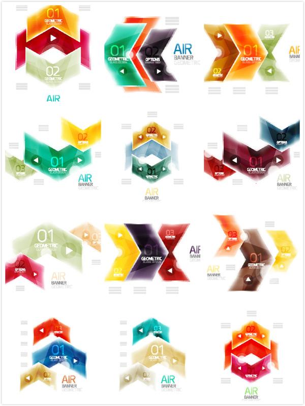 设计矢量素材,水晶质感,炫彩图形,箭头,立体几何图形,方向,几何拼接