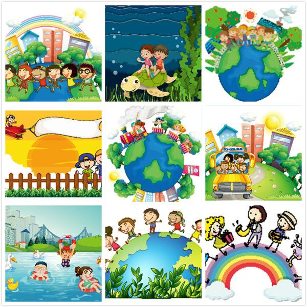 卡通儿童设计矢量素材,幼儿园插画,卡通女生,小女孩,卡通男孩,卡通男生,卡通儿童,漫画,卡通人物漫画,地球,海龟,城市,环境保护,汽车,旅游,游泳,插画,矢量素材,eps