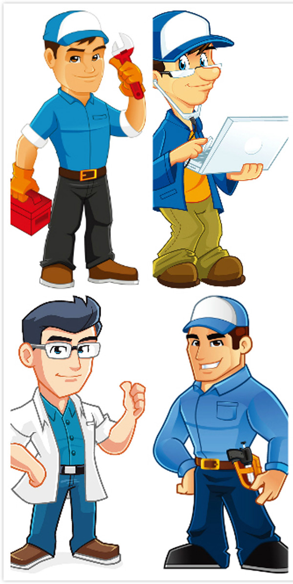 矢量职业人物所需点数: 0 点 关键词: 卡通职业男性设计矢量素材,快递图片
