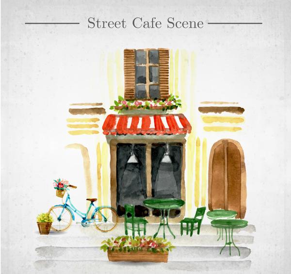 咖啡店手绘场景_素材中国sccnn.com