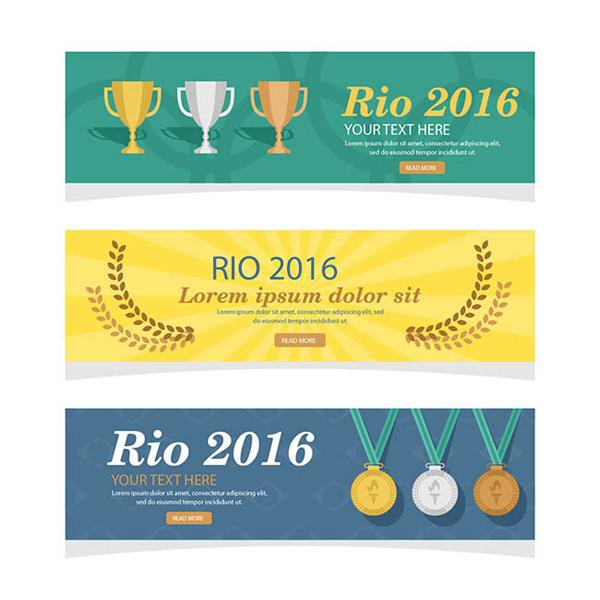 会横幅旗织海报设计eps素材下载,奥运奖杯,奥运奖牌,里约奥运会旗帜