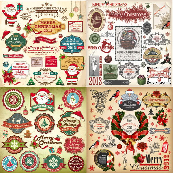 简介: 圣诞节复古元素矢量素材,圣诞节,圣诞标签,圣诞图标,欧式,复古