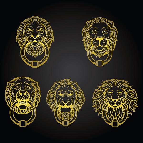黄狮形门环矢量