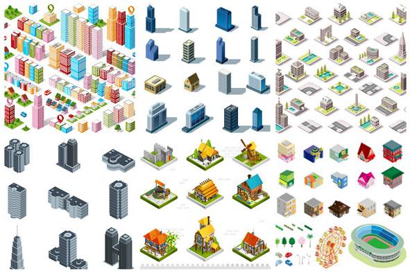 矢量建筑景观所需点数: 0 点 关键词: 精美立体房子建筑设计矢量素材