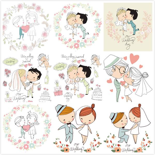 卡通婚礼人物设计矢量素材