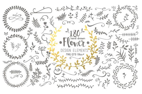 手绘花朵,树叶,花纹,树枝,边框,花边,装饰花纹,手绘,可爱元素,手绘