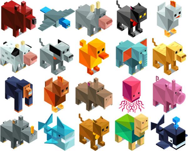 矢量卡通动物所需点数: 0 点 关键词: 几何立体动物设计矢量素材