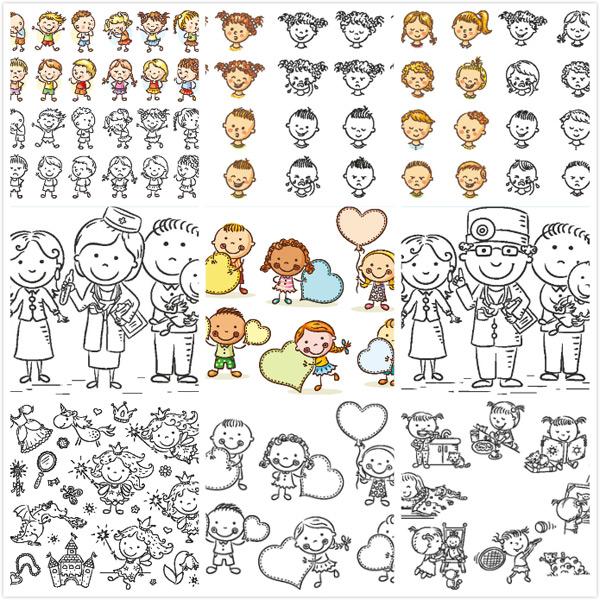 卡通儿童手绘矢量_素材中国sccnn.com