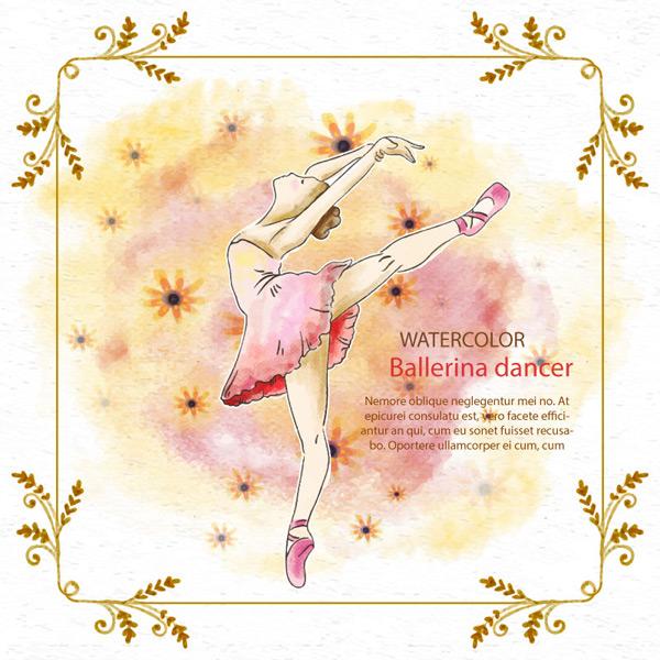 手绘跳芭蕾舞的小女孩免费下载