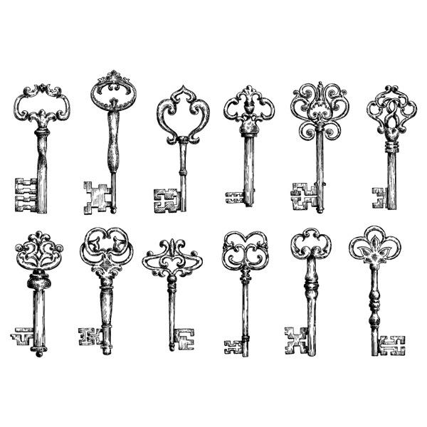 12款古典钥匙设计矢量素材免费下载