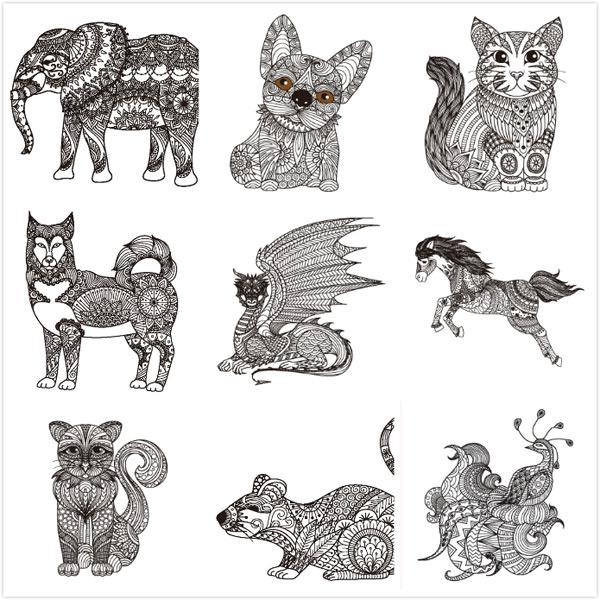 动物线性绘画