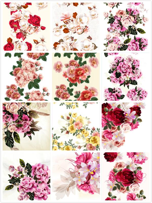 绘画,插画,玫瑰花,鲜花植物,花朵,花卉,矢量,手绘花朵背景,花草树木