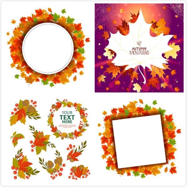素材分类: 矢量花边所需点数: 0 点 关键词: 秋天树叶圆形方形边框